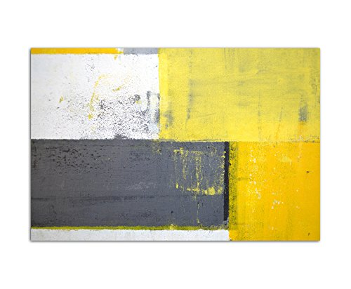 Paul Sinus Art 120x80cm - WANDBILD Malkunst Kunstwerk grau/gelb abstrakt - Leinwandbild auf Keilrahmen modern stilvoll - Bilder und Dekoration