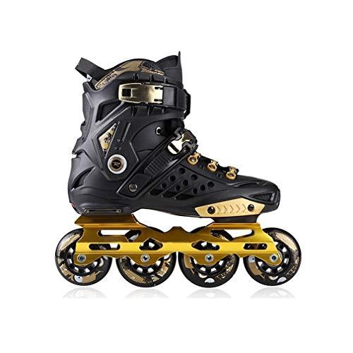 Sljj Inline Skates, Professional Single-Row Skates Adult Male and Female Roller Skates 2 Colours (Color : Black, Size : EU 44/US 11/UK 10/JP 27cm)