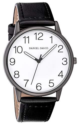 Daniel David Unisex | Orologio con Cinturino Nero in Pella PU & Cassa Grandi Numeri | DD18802