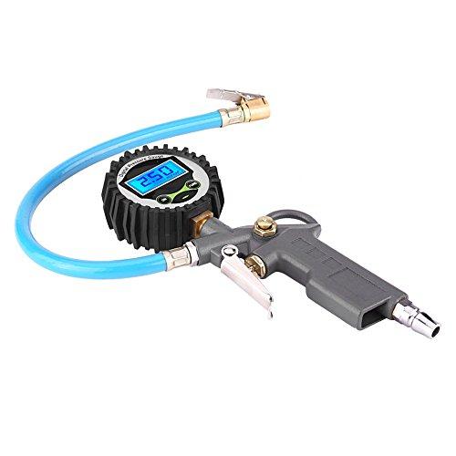 Medidor de presión para inflar neumáticos, medidor de inflado de neumáticos, 0-220 Psi 0-16 Bar Tipo de gatillo de empuñadura de pistola compacta para coche camión