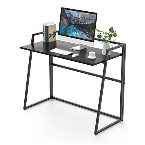 UMI.by Amazon Faltbarer Schreibtisch Modern Klapptisch Stabil Computertisch Keine Installation erforderlich Bürotisch für Homeoffice Arbeitzimmer Schwarz