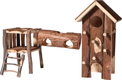 Nager-Spielplatz mit Kletterturm, Tunnel und zwei Ebenen mit Leiter, Kleintier-Spielzeug mit natürlicher Rinde, 41 x 17,5 x 26,5 cm