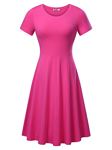 HUHOT Women Short Sleeve Round Neck Summer Casual Flared Midi Dress (Medium, Rose)