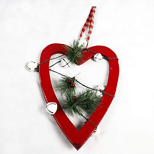 SHATCHI 30cm Red Wooden Heart Wall Hanging Ornament Decorated with White Bells Berries and Pines Christmas Holiday Home Decorations, 23x1.2x30 cm