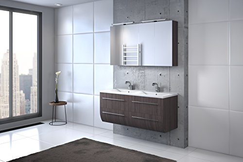Bad11® - Badmöbelset ZESIRO CLASSIC - Farbton Trüffeleiche Holzoptik matt, mit Doppelwaschbecken und 2 x Spiegelschrank, Waschtisch unten abgerundet, Farbauswahl