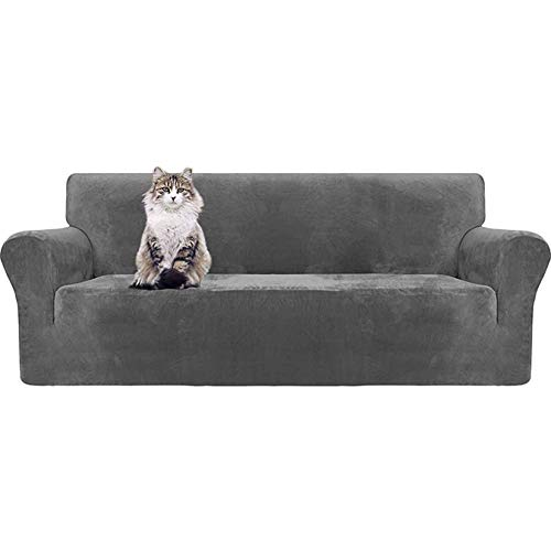 Mqing Stretch Velvet Sofa Cover for 123 Cushion Couch Cover Sofa Slipcover with Non Slip Straps Furniture Protector for Pets Kids-Gray-3 Seater 190-230cm