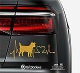 Artstickers Pegatinas para Coche con Forma de Perro Jack RUSELL Terrier, 20 cm, para Amantes de los Coches. Color Oro. Pegatina Perro latidos corazón. Regalo Adhesivo Spilarts, Marca Registrada