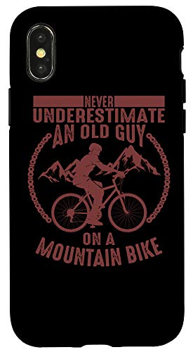 iPhone X/XS Funny Old Biker Mountain Bike Gift | Cute Bicycle Riders Men Case