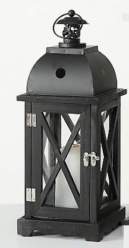 Boltze Laterne Tudor Holz schwarz H42cm Holzlaterne Dekolaterne Wohnaccessoires Deko