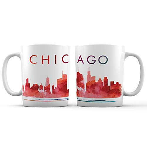 Chicago Souvenir Coffee Mug - Ceramic - 11 oz. - Great Lifetime Novelty Gift Cup for Men, Women and Friends, Chicago Skyline Souvenir Coffee Mug