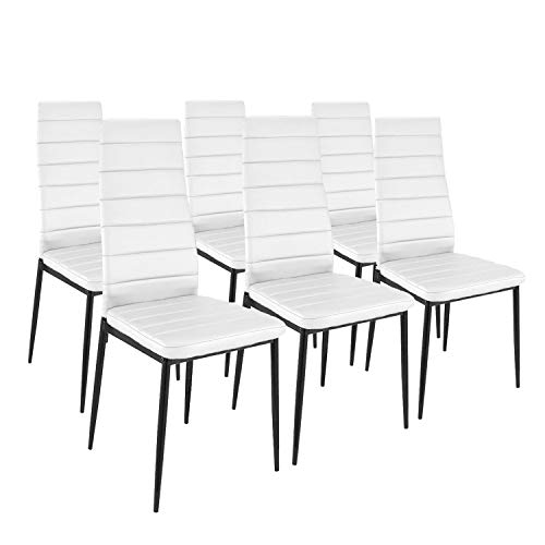 HomeSouth - Pack Seis sillas tapizadas símil Piel, Silla Color Blanco, Patas metalicas Negras, Medidas: 44 cm (Ancho) x 96 cm (Alto) x 42 cm (Fondo)