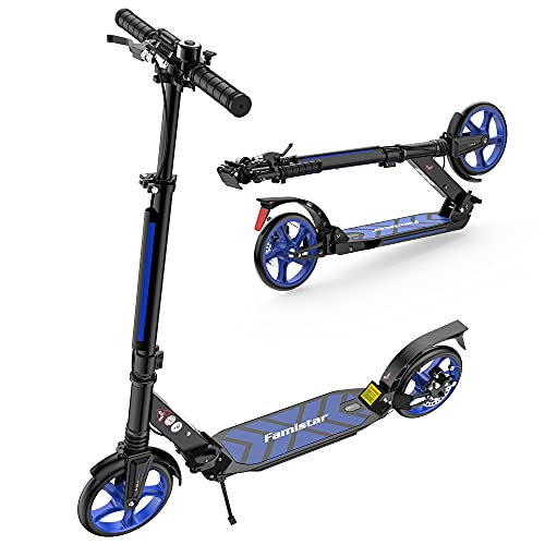 Famistar Foldable Kick Scooters, Adjustable Height, Dual Shock-Absorbing and Double-Brake System, Max. Support: 220 lbs, Large Wheels City Series for Adults and Teens, Kids…