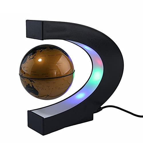 Globo flotante de levitación magnética en forma de C Mapa del mundo con luz LED Regalos Equipo de enseñanza Decoración de escritorio Enchufe de la UE