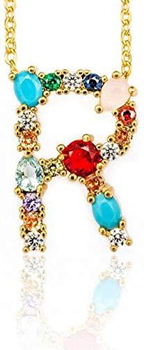 Yiffshunl Collar de Moda R - Mujeres exquisitas DIY Letra Inicial Colgante de Collar con Alfabeto con Nombre Accesorios de joyería creativos Regalo para Novia