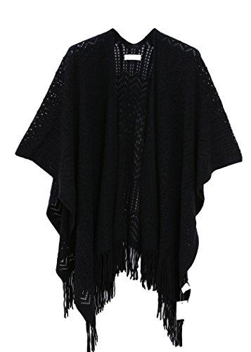 stricken stola für Damen,mädchen Schal Frauen Kimono Cardigan(Schwarz)