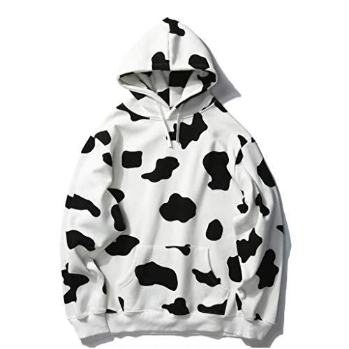 SSMDYLYM Sudadera estampada de manga larga con capucha para mujer, bonita blusa de invierno (tamaño: código M)