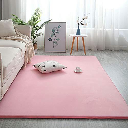 Tappeto rettangolare in memory foam, tappeto in peluche tinta unita Tappeto da gioco per bambini anallergico grande Camera da letto in velluto spesso accanto a tappeto rosa 140x200 cm (55x79 pollici)