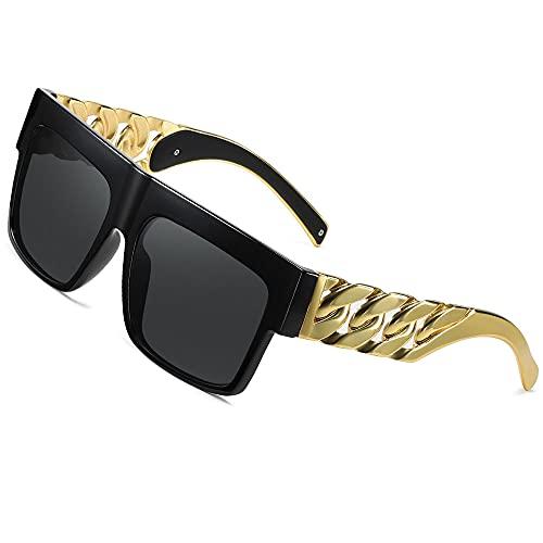 Moda Celebridad inspirada Oro Metal Cadena Kim Kardashian Beyoncé Gafas de sol Vendimia Gafas de sol de hip hop