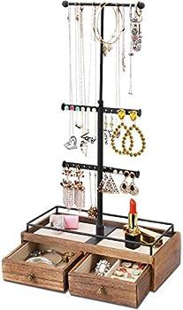 Keebofly 3-Tier Jewelry Organizer With Metal & Wood Basic Storage Box
