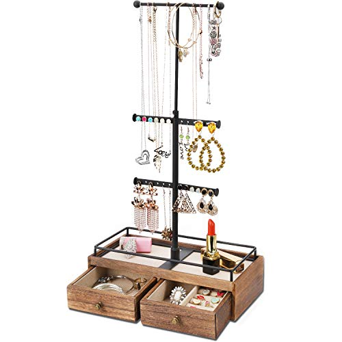 Keebofly Jewelry Organizer Metal & Wood Basic Storage Box - 3 Tier Jewelry Stand for Necklaces...