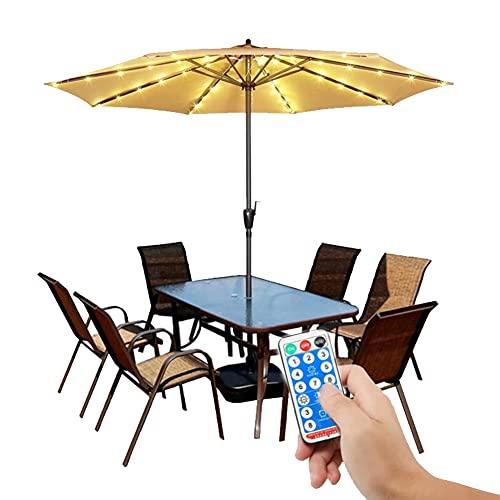 XCUGK Iluminación Solar para sombrilla 104 Leds de Alta Luminosidad 8 Modos Cadena de Luz para Sombrilla de Patio para Parasol Terraza Jardín al Aire Libre Camping Tiendas de Campaña