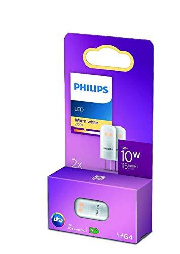 Philips LED Cápsula Bombilla, 10 W, G4, 12 V, Luz Blanca Cálida, No Regulable, Pack de 2 Unidades