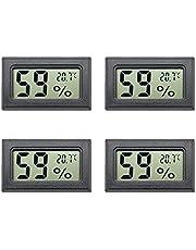 Aideepen 4 st svarta mini LCD digital termometer hygrometer temperatur inomhus bekväm temperatursensor fuktighetsmätare mätinstrument