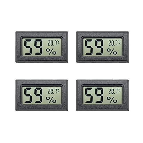Aideepen Mini-LCD-Digital-Thermometer, Hygrometer, Temperatursensor, Luftfeuchtigkeitsmesser, Schwarz, 4 Stück