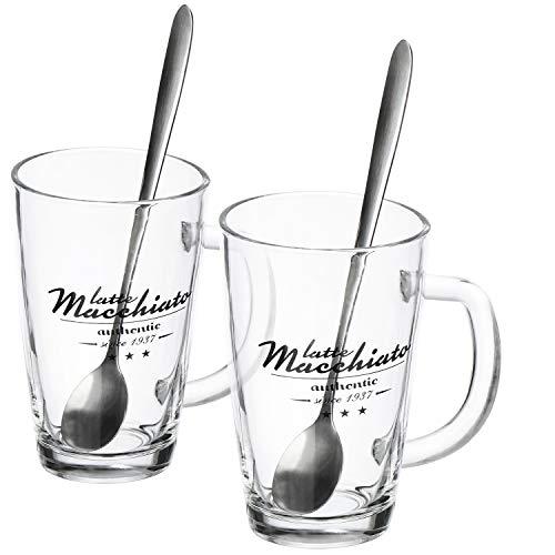 com-four® 2x Vaso Latte Macchiato - Vasos de Latte Macchiato con Cucharas Largas - Vasos de Café con Asas - Vasos para Té, Café, Chocolate Caliente