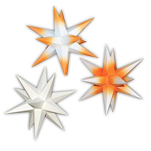 3er Set beleuchtete Sterne aus Papier weiß, orange & weiße Spitzen, weiß & orange Spitzen, 3d Weihnachtssterne fürs Fenster - Bockelwitzer Stern (Art.Nr.309) inkl. Netzteil mit 3-fach-Verteiler Fenster-Clip Papierstern 19 cm handgefertigt Innenbereich