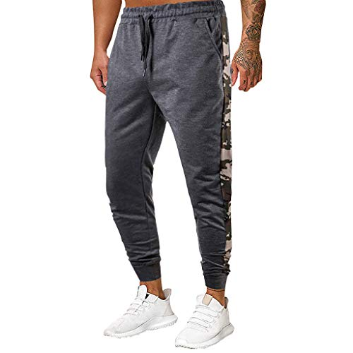 Sport Pants Men Athlete Sports Jogger Training Track Fitness Casual Pants Trousers with Drawstrings Pockets Respctful Gray