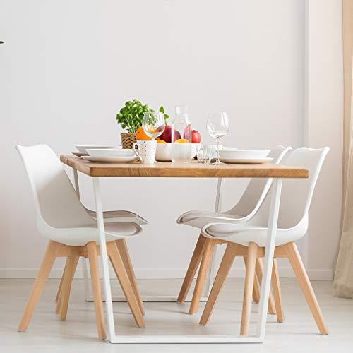 VADIM Chaise Scandinave Blanc Lot de 4, Chaises De Cuisine Rétro Tulip Rembourrée, Chaise Salle à...