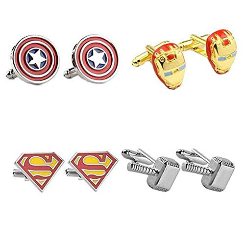 4 Paar Avengers Superhero Manschettenknöpfe Iron Man Thor Captain America Flash Deadpool Batman Krawattenklammer für Herren Party Hemd Manschettenknöpfe
