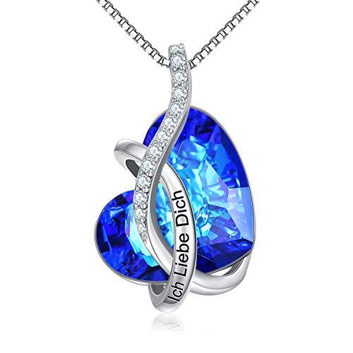 """Kette Herz Sterling Silber""""Ich Liebe Dich"""" Halskette Damen mit Kristallen von Swarovski, Geburtstagsgeschenk für Frauen Freund (Ich Liebe Dich (Blau))"""