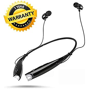 CROGIE® HBS-730 Wireless Bluetooth Headset Sports Neckband Joggr Bluetooth Headphone Sweatproof with Noice Cancelling Mic Handfree deep Bass Earphones Support for All Smartphones (Black)