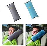 2 Stück Gurtpolster Schlafkissen Nackenstütze für Kinder, Auto Sicherheitsgurt Autositz Kopfkissen Gürtel Pillow Schulterschutz (Grau & Blau)