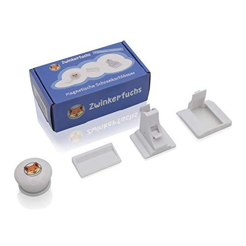 Unsichtbare Kindersicherung von Zwinkerfuchs® - Magnetschloss-Set zur Schubladensicherung und Schranksicherung - 4 Schlösser, 1 magnetische Schlüssel, 1 Schlüsselhalter, Ersatzklebebänder - weiß