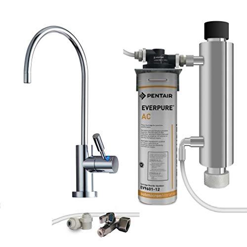 Depuratore acqua FiltriAcquaShop. Kit Filtrazione con filtro Everpure AC, Lampada UV e Rubinetto 1 via con LED che...