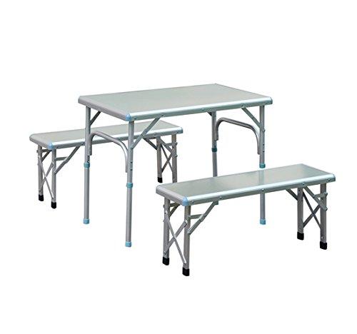 Outsunny - Set Picnic da Campeggio Pieghevole Composto da Un Tavolo e 2 Panchine in Lega d'Alluminio Argento