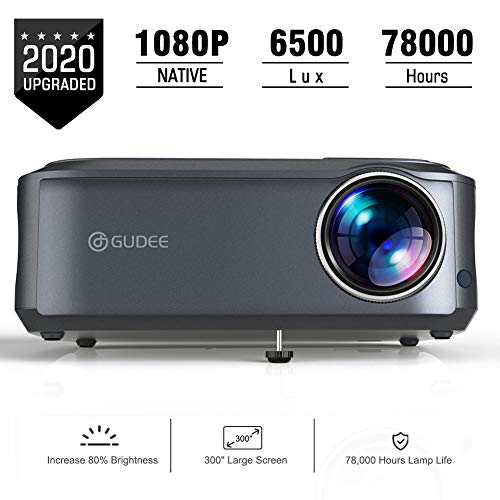 Video Projector, GuDee Projectors 1080P Full HD Overhead Projector Portable for Computer Laptop Business Game PowerPoint Presentation Home Theater Compatible with iPhone Android USB HDMI