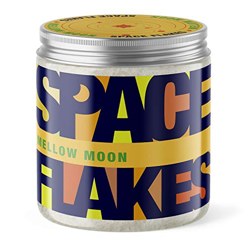 SPACE FLAKES® Body Scrub Peeling Honig-Mandel mit Bio-Jojobaöl Mellow Moon 600g vegan Meersalz Körperpeeling ohne Mikroplastik MADE IN GERMANY