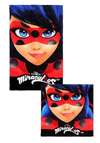Theonoi 2 Teile - Kinder Handtuch Set – wählbar: Paw Patrol Frozen Ladybug Thomas Spiderman – 100% Baumwolle - Handtuch/Gesichtstuch und Waschlappen (Miraculous Lady Bug)