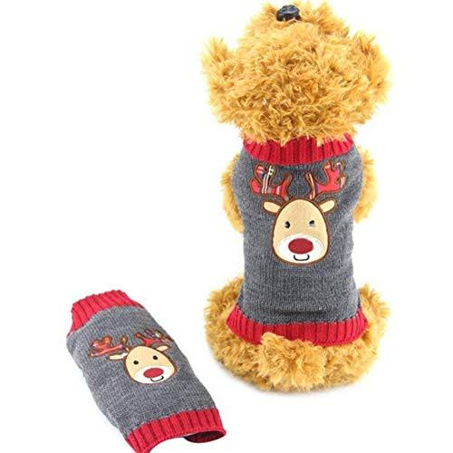 PJDDP Hund Pullover Weihnachten Karikatur-Ren-Haustier-Katzen-Winter-Strick Warme Kleidung, Rentier-Muster, Halloween Thanksgiving Weihnachten Kostüme,XXS