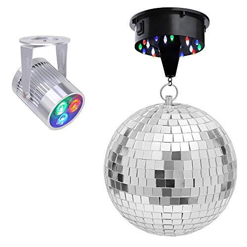 Yescom - Bola de discoteca con espejo de 12 pulgadas con motor giratorio y 3 luces LED multicolor para fiestas en el hogar
