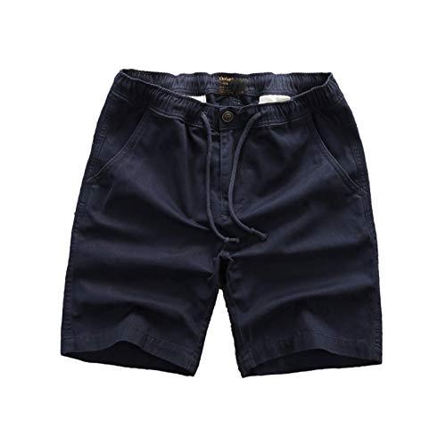 Katenyl Pantalones Cortos de Cintura elástica para Hombre con Botones Moda Suelta cómoda Tendencia Todo-fósforo Ropa de Calle Pantalones Cortos Casuales al Aire Libre L