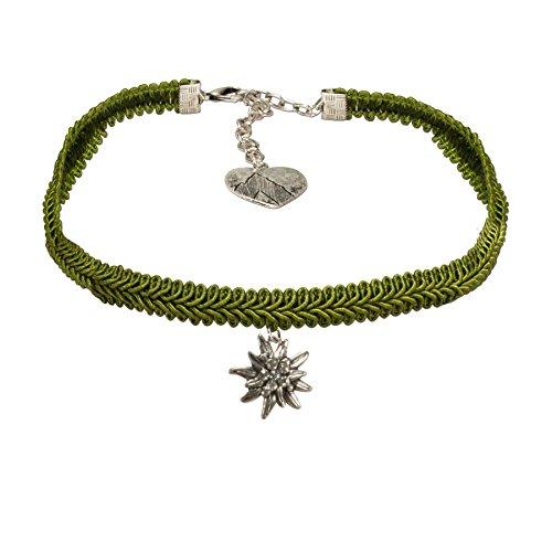 Alpenflüstern Trachten-Borten-Kropfband Strass-Edelweiss Trachtenkette enganliegend, Elegante Kropfkette, Damen-Trachtenschmuck grün DHK192