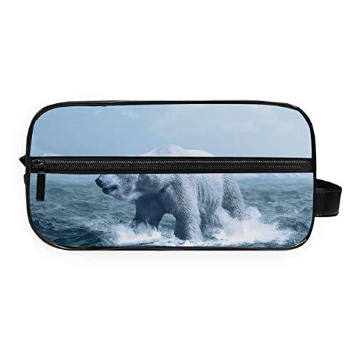DEZIRO - Trousse portatile da viaggio con orso polare in acqua ghiacciata, impermeabile, per cosmetici e cosmetici, per donne e ragazze