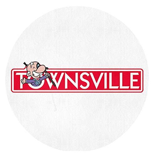 Liz Carter 60cm Powerpuff Girls Townsville Monopoly Teppich Runde Vordertürmatte, rutschfest, waschbar, absorbiert schnell Feuchtigkeit und widersteht schmutzigen Teppichen