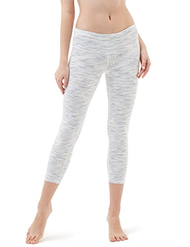 TSLA Women's Capri Yoga Pants, Workout Running Tights, 4-Way Stretch Leggings with Hidden/Side Pocket, Capris Midwaist Spacedyewhite, Medium