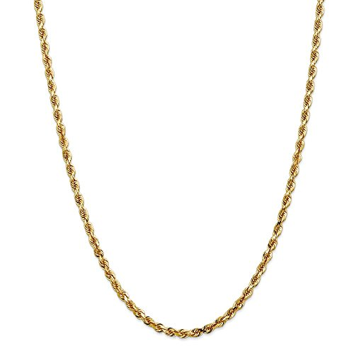 Diamond2deal 14 K giallo oro 4 mm corda catena quadrupla collana 55,9 cm